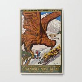 Chamonix Mont Blanc Vintage Travel Poster Metal Print