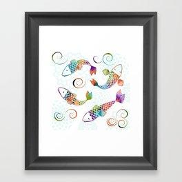 Koi - White Stream Framed Art Print