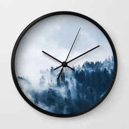 CLOUDS - WHITE - FOG - TREES - FOREST - LANDSCAPE - NATURE - TIMBER - WOODS - PHOTOGRAPHY Wall Clock