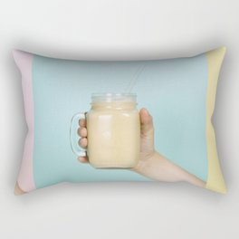 Woman (teenage girl) hand holding smoothie shake against bright wall - collage Rectangular Pillow