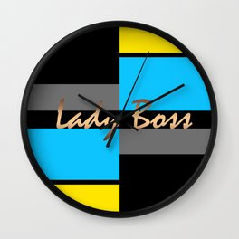 Lady Boss , turquoise ,lemon Wall Clock