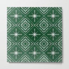 Shibori Style Star Pattern on Green Metal Print