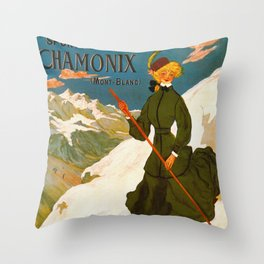 Vintage Chamonix Mont Blanc France Travel Throw Pillow