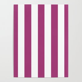Maximum red purple - solid color - white vertical lines pattern Poster