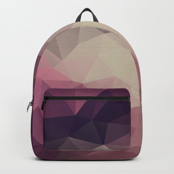 Polygon pattern . Triangles with a texture craquelure . Backpack