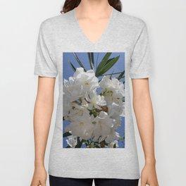 Nerium Oleander White Unisex V-Neck