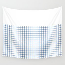 Dotted Grid Boarder Blue on White Wall Tapestry