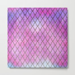 Purple and blue Quatrefoil with Gold Frame- Elegant Morrocan Watercolor Pattern Metal Print