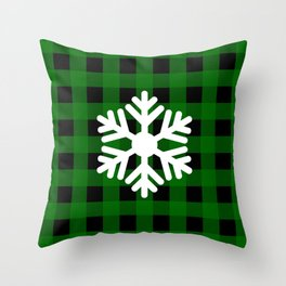 Snowflake - green buffalo check - more colors Throw Pillow