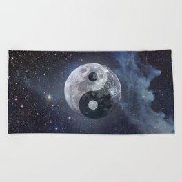 Yin Yang Moon Beach Towel