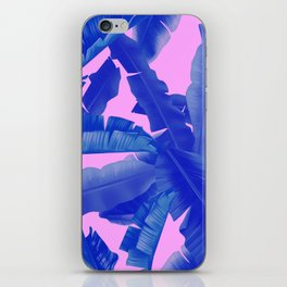 tropical banana leaves pattern,pink,blue iPhone Skin