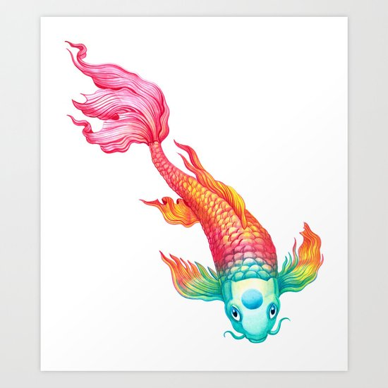Rainbow koi fish art print by sanjana baijnath society6 for Koi fish artwork