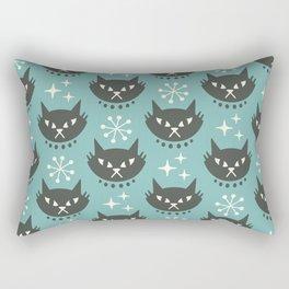 Retro Mid Century Modern Cat Pattern 321 Turquoise Rectangular Pillow