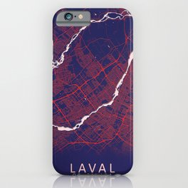 Laval, QC, Canada, Blue, White, City, Map iPhone Case