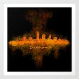 Cleveland City Skyline Hq V4 Art Print