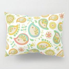 Hedgehog Paisley_Green outline Pillow Sham