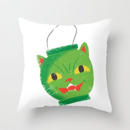 Green cat head luminary Throw Pillow