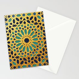 -A1_2- Golden Original Traditional Moroccan Artwork. Stationery Cards