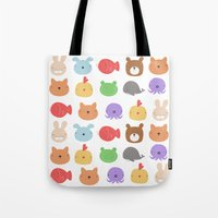 stickers Tote Bags featuring Animal Stickers by xiuen