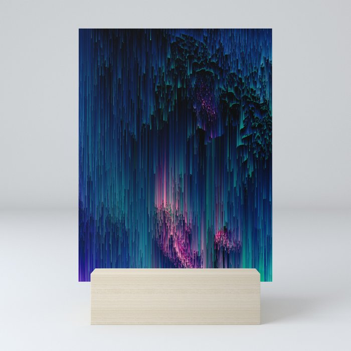 Glitchy Night - Abstract Pixel Art Mini Art Print