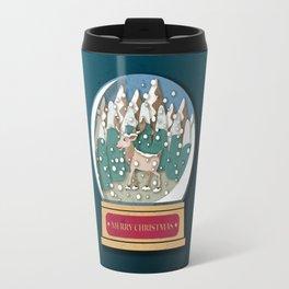 Merry Christmas Snowglobe Reindeer Travel Mug