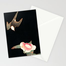Japanese Woodblock - Swallow and Camellia Stationery Cards