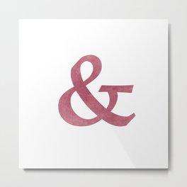 Modern Maroon Textured Ampersand And Symbol Metal Print
