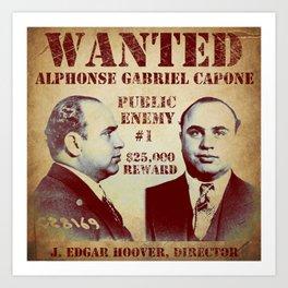 Al Capone FBI Wanted Poster Art Print