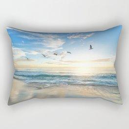 Ocean Beach Waves Sunset Photo Rectangular Pillow