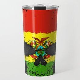 Flag of Bolivia on a Chaotic Splatter Skull Travel Mug