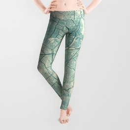 Cairo Map Blue Vintage Leggings
