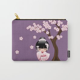 Japanese Bride Kokeshi Doll on Purple Carry-All Pouch
