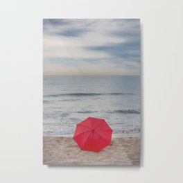 Red Umbrella lying at the beach III Metal Print
