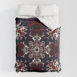 Psychedelic Black, Red and White Pattern Comforters