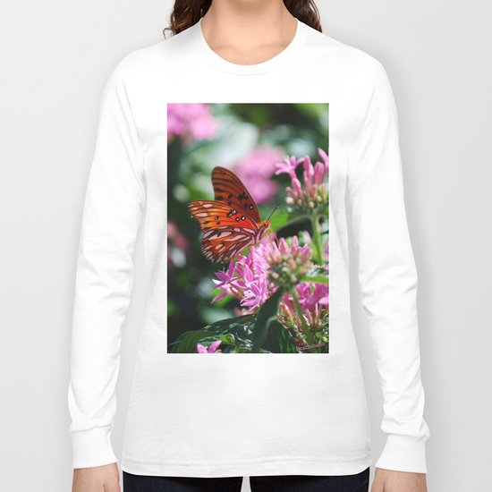 Butterfly In Pink Long Sleeve T-shirt