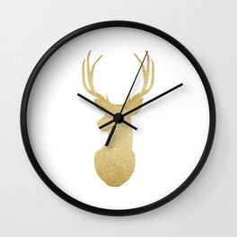 Gold Glitter Reindeer Wall Clock