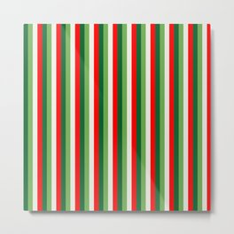 Green, Star White And Red Clover Pinstripes Metal Print