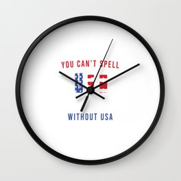 You Can't Spell Sausage Without USA Freedom Rights Justice T-shirt Design Stars Red Blue White Wall Clock