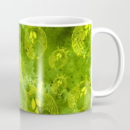 Mosaic of owls green and yellow color Coffee Mug