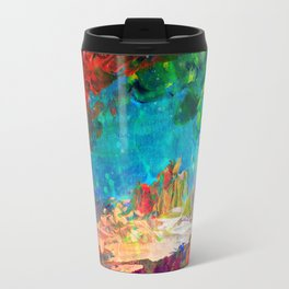WELCOME TO UTOPIA Bold Rainbow Multicolor Abstract Painting Forest Nature Whimsical Fantasy Fine Art Travel Mug