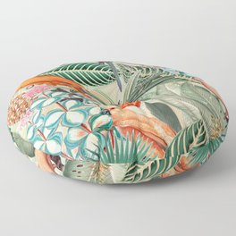 Vintage & Shabby Chic - Sepia Tropical Bird Garden Floor Pillow