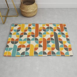 1970s Colors Mid Century Modern Geometric Pattern  Rug
