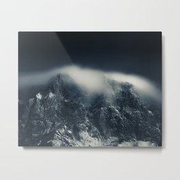 Darkness and white clouds over the mountains Metal Print