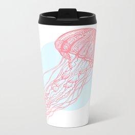 Red Jellyfish Metal Travel Mug