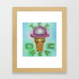 Neon Ice Cream Framed Art Print