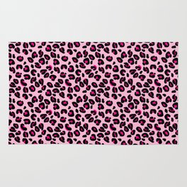 Cotton Candy Pink and Black Leopard Spots Animal Print Pattern Rug