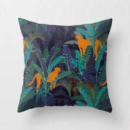 Midnight Jungle Throw Pillow