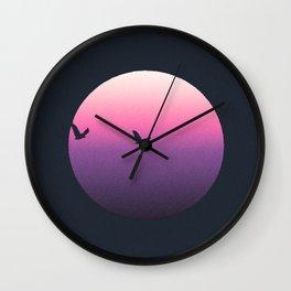 Modern Pink Purple Sunset and Birds Wall Clock