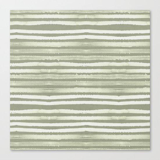 Simply Shibori Stripes Green Tea and Lunar Gray Canvas Print