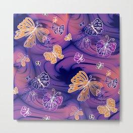 Flutterby Butterfly in purple and orange! Metal Print